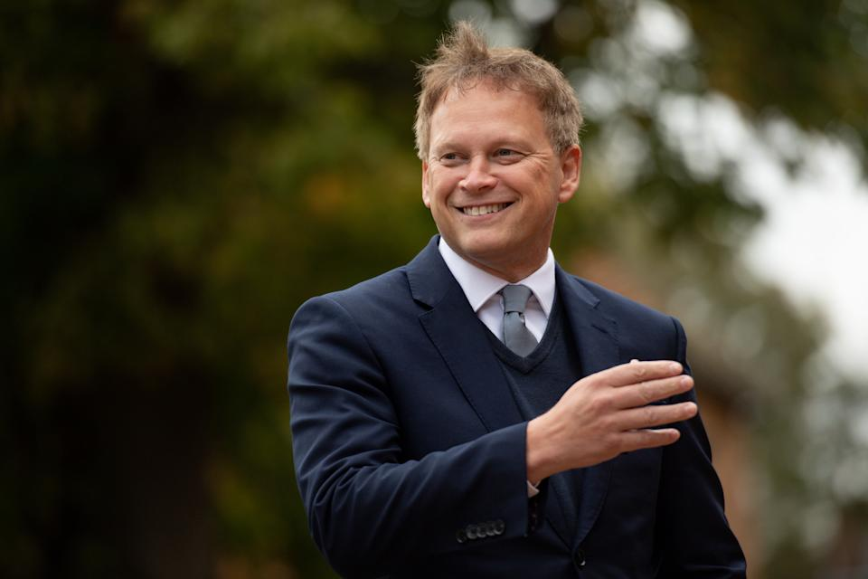 Embargoed to 0001 Wednesday October 14 Transport Secretary Grant Shapps arrives to present Sir Captain Tom Moore with the first Veterans' Railcard at The Old Rectory, The Green, Marston Moretaine, Bedfordshire.