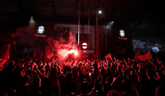 Thousands of Liverpool fans flocked to Anfield to celebrate the club's Premier League title. (PA)