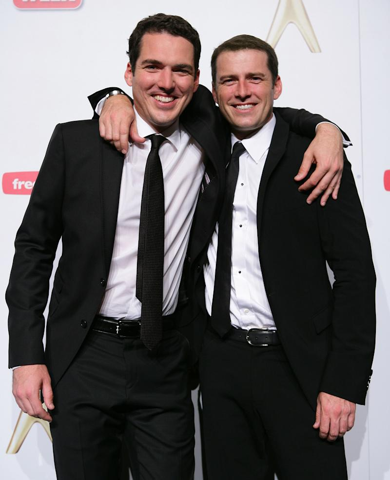 Peter Stefanovic and Karl Stefanovic pose in the awards room during the 2011 Logie Awards at Crown Palladium on May 1, 2011 in Melbourne, Australia. (Photo by Don Arnold/WireImage)