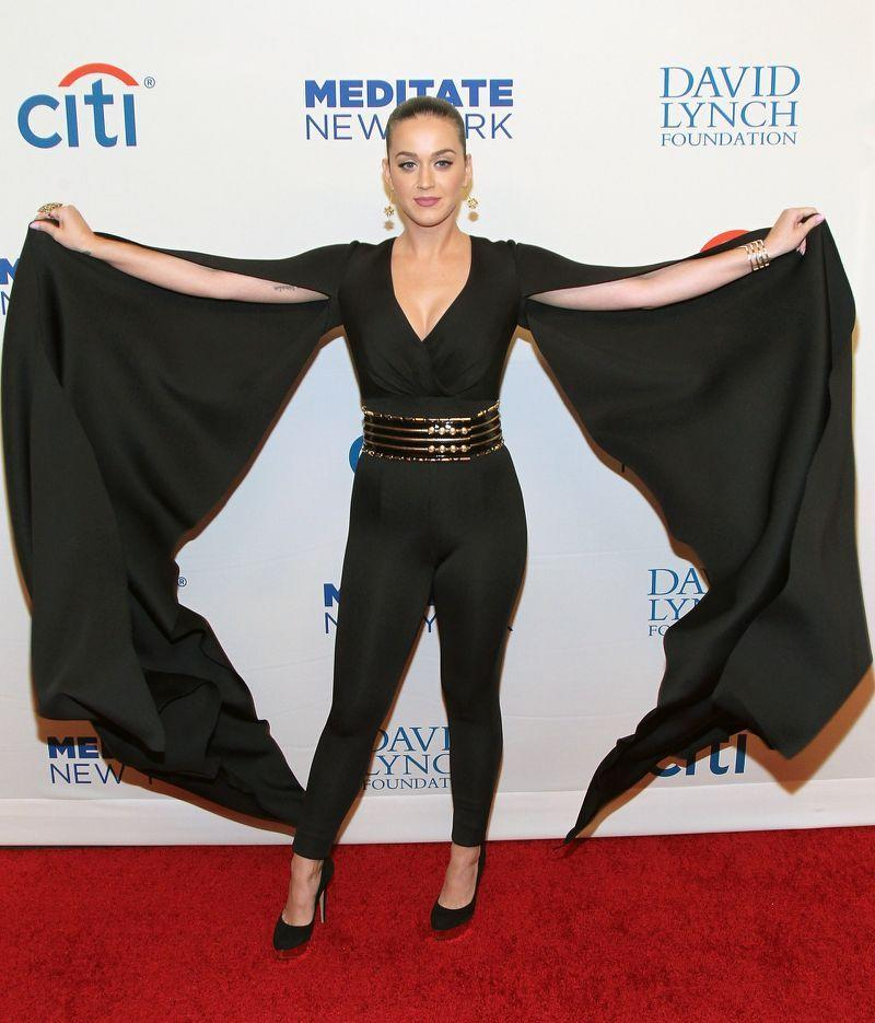 """<p>The <a href=""""http://www.usatoday.com/story/life/music/2015/11/05/katy-perry-tops-taylor-swift-female-top-earners-list/75210552/"""">highest paid female musician in 2015</a> (she raked in $135 million) wore a lycra jumpsuit with sleeve trains on the red carpet before performing at a charity function.<i>Photo: Getty Images</i><br /></p>"""