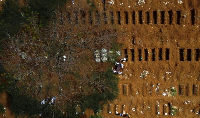 Fresh graves await more bodies at the Vila Formosa cemetery in Sao Paulo, Brazil, on April 14, 2021: the city has had to hire 50 vans to cope with the influx of the dead, as funeral homes ran out of space in their hearses