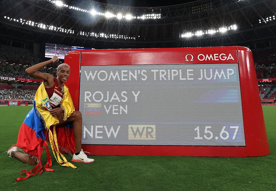 Yulimar Rojas of Venezuela celebrates after breaking the world record of the women's triple jump at Tokyo 2020 Olympic Games, in Tokyo, Japan, Aug. 1, 2021. (Photo by Li Ming/Xinhua via Getty Images)