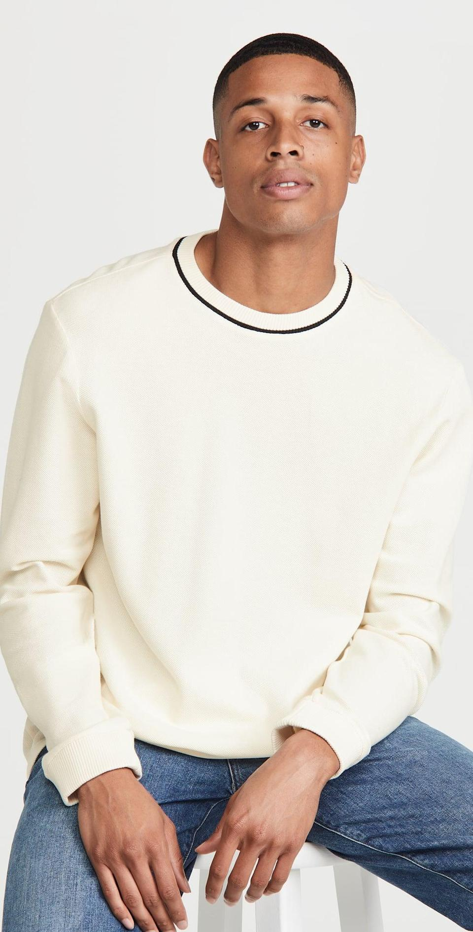 <p>Because you can't say fall without a classic top like this <span>Club Monaco Pique Sweatshirt</span> ($99). It will seamlessly pair well with any bottoms.</p>