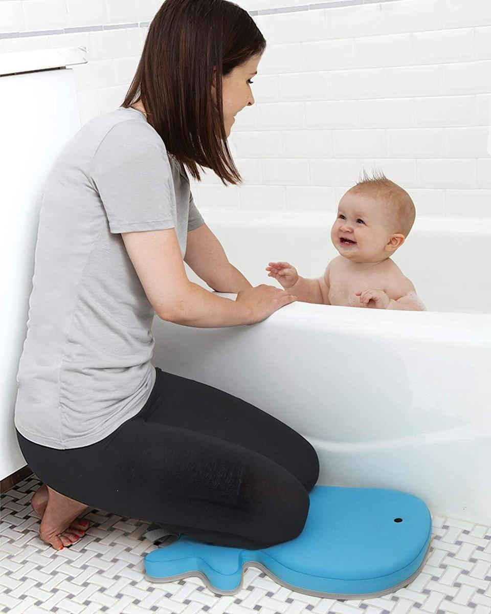 "Unless you're getting in the tub, you're going to be praying (you're basically already in that position) for some support for your patellas. That bathroom floor is unforgiving, but this product will save you. <br /><br /><strong>Promising review:</strong> ""Soooo, this is Mr. Whale, at least that's what he's called in our house. My knees and I love him so much that I've even started to sing a song about him every night at bath time (come to think of it, it's more of a sea shanty). And it goes a little something like this: 'He's Mr. Whale, he's Mr. Whale. He's got a tail(tale)...to telllllllll / When you set sail, please do not fail, to say hellllllllooooo!' It's just my little way of thanking him for his consistent quiet service in offering just the right amount of cushiness so I don't have to make that 'old-man-getting-up' noise every time I've finished bathing my child."" — <a href=""https://www.buzzfeed.com/jmihaly"" target=""_blank"" rel=""noopener noreferrer"">John Mihaly</a><br /><br /><strong>Get it from Amazon for <a href=""https://amzn.to/3e4zqlw"" target=""_blank"" rel=""nofollow noopener noreferrer"" data-skimlinks-tracking=""5669346"" data-vars-affiliate=""Amazon"" data-vars-asin=""B005UND06I"" data-vars-href=""https://www.amazon.com/dp/B005UND06I?tag=bfjohn-20&ascsubtag=5669346%2C7%2C22%2Cmobile_web%2C0%2C0%2C7256004"" data-vars-keywords=""cleaning"" data-vars-link-id=""7256004"" data-vars-price="""" data-vars-product-id=""16639285"" data-vars-product-img=""https://m.media-amazon.com/images/I/41bL+ckge7L.jpg"" data-vars-product-title=""Skip Hop Moby Baby Bath Kneeler Pad, Blue"" data-vars-retailers=""Amazon"">$14.99</a>.</strong>"