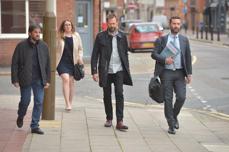 Ex-Kasabian singer, Tom Meighan, arrives at Leicester Magistrates' Court where he is appearing on a domestic assault charge.
