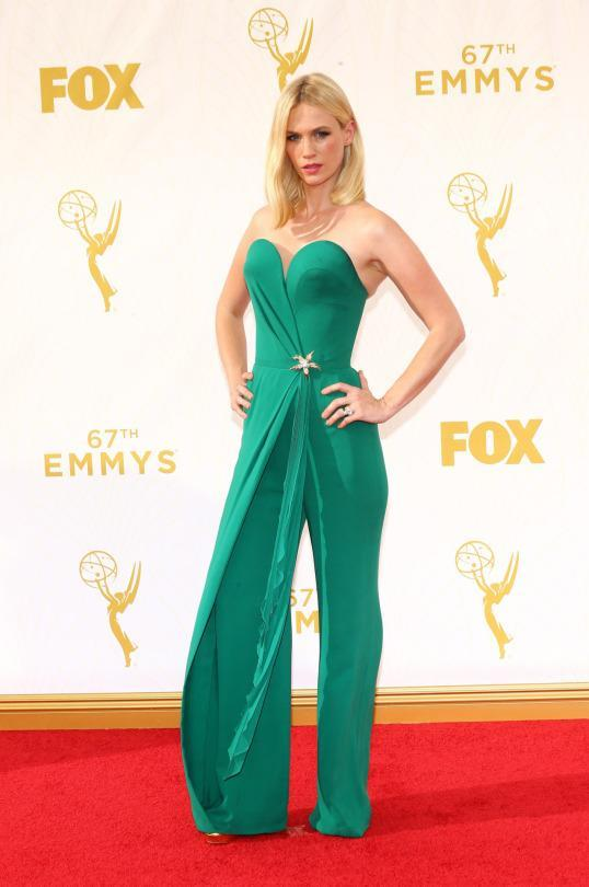 """<p>January Jone was invited to the Emmys for her period show """"Mad Men,"""" yet her Sunday night look was all 2015. The strapless jumpsuit took the one-shoulder trend and turned it on its head by covering only one leg in ruffles. </p>"""