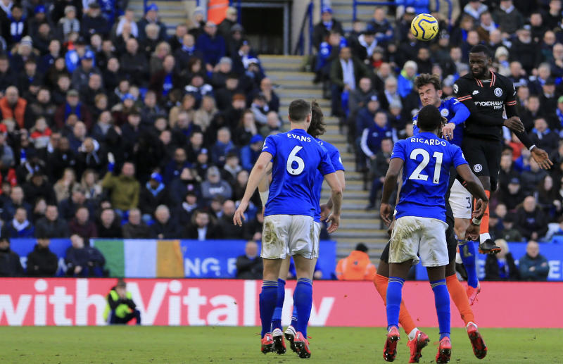 Chelsea's Antonio Rudiger, right, scores his side's second goal during the English Premier League soccer match between Leicester City and Chelsea at the King Power Stadium, in Leicester, England, Saturday, Feb. 1, 2020. (AP Photo/Leila Coker)