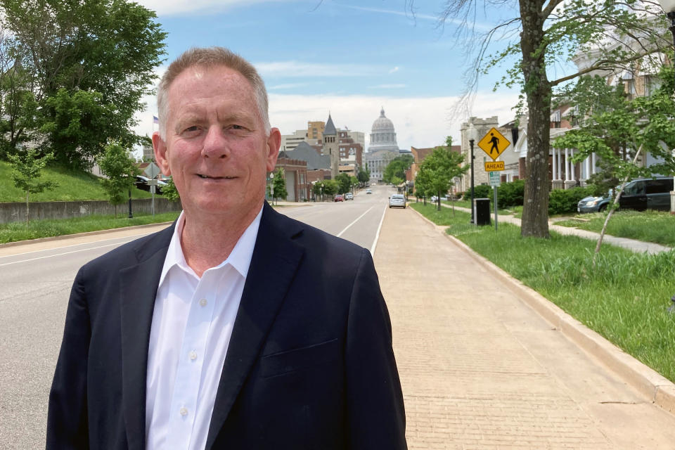 Dan Mehan, president and CEO of the Missouri Chamber of Commerce and Industry, stands outside the chamber's office near the state Capitol in Jefferson City, Missouri, on May 24, 2021. The chamber supported Gov. Mike Parson's decision to use $300 million of federal coronavirus relief funds to shore up the state's unemployment insurance trust fund. (AP Photo/David A. Lieb)