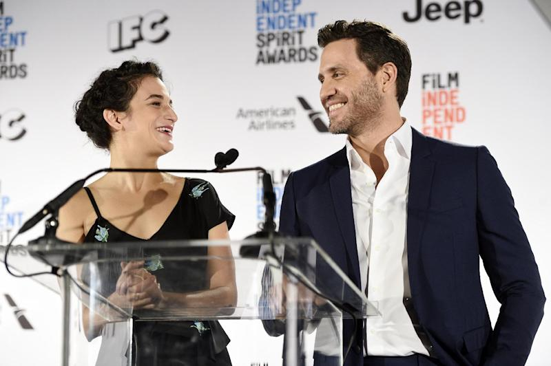 Actress Jenny Slate, left, laughs with actor Edgar Ramirez as they announce the nominations for the 2017 Film Independent Spirit Awards at the W Hotel on Tuesday, Nov. 22, 2016, in Los Angeles. The annual film awards show will be held on Feb. 25, 2017. (Photo by Chris Pizzello/Invision/AP)