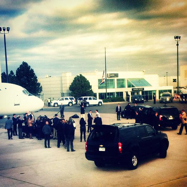 Romney and Ryan say goodbye as the media observes (Denver CO) - @hollybdc, via Twitter