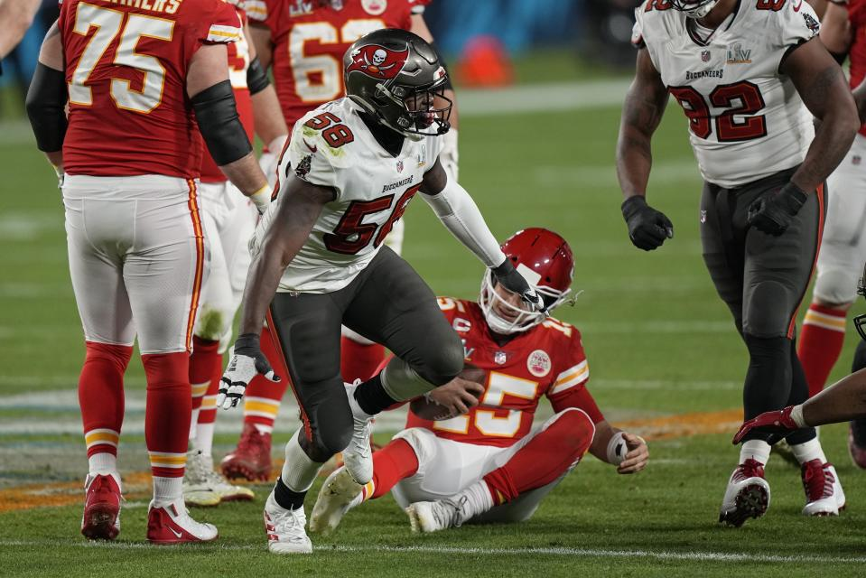 Tampa Bay Buccaneers outside linebacker Shaquil Barrett celebrates after sacking Kansas City Chiefs quarterback Patrick Mahomes during the second half of Super Bowl LV. (AP Photo/David J. Phillip)
