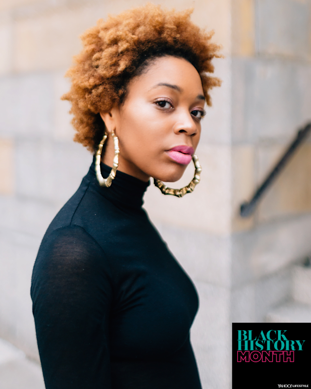 """Robyn Mowatt grew up feeling like """"the other"""" because of the way people responded to her physical features. (Photo: <a href=""""https://www.instagram.com/mark.c/?hl=en"""" rel=""""nofollow noopener"""" target=""""_blank"""" data-ylk=""""slk:Mark Clennon"""" class=""""link rapid-noclick-resp"""">Mark Clennon</a>, art by Quinn Lemmers for Yahoo Lifestyle)"""