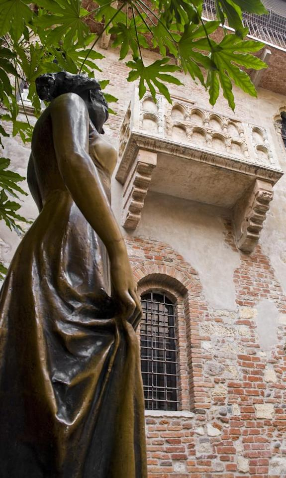 Verona, Italy<br><br>Shakespeare, who told one of the most enduring love stories of all time, found inspiration in Verona. This city in northeastern Italy was the location for his tragedy, Romeo and Juliet. Casa di Guiletta (Juliet's House), with its telltale balcony, is one of the city's most visited attractions and the shrine of smitten couples. One spoiler, though: it's a make-believe story. The story has no connection with the bard, and the balcony was added many years later. But if it is love that brought you to Verona, make time for the city's many other attractions such as the Arena, the Basilica of St Zeno, and climb the top of the Lamberti tower for great city views. Several airlines fly to Catullo airport, 12 km from the Verona, from major European cities.