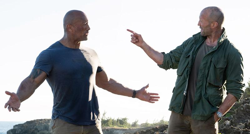 Dwayne Johnson and Jason Statham in <i>Fast & Furious: Hobbs & Shaw</i>. (Universal)