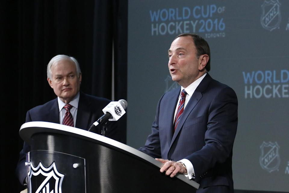 In this Saturday, Jan. 24, 2015 file photo, NHL Commissioner Gary Bettman, right, and NHL Player's Association Executive Director Donald Fehr take part in announcing the return of the World Cup of Hockey in 2016 in Toronto, during a news conference at Nationwide Arena in Columbus, Ohio. International Ice Hockey Federation President Rene Fasel says he had a