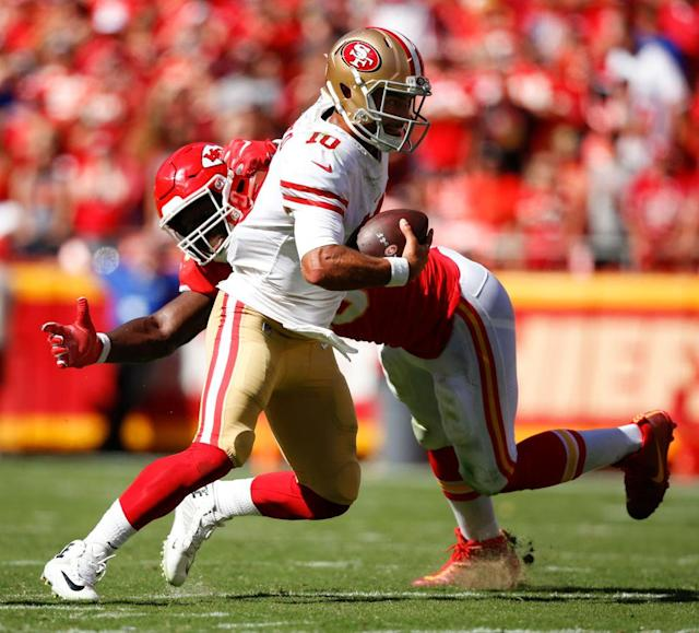 Was Justin Houston's blunt take on Jimmy Garoppolo's injury a product of player animus against the coddling of NFL quarterbacks? (Getty)