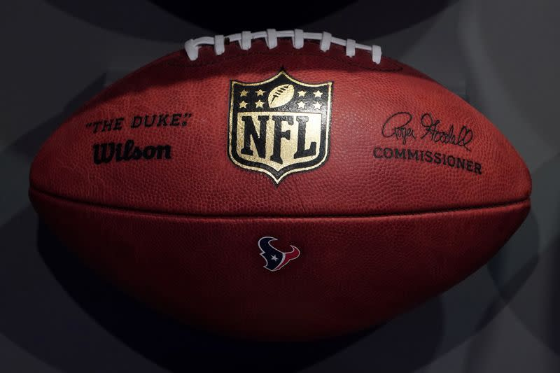 The NFL logo is pictured on a football at an event in the Manhattan borough of New York City