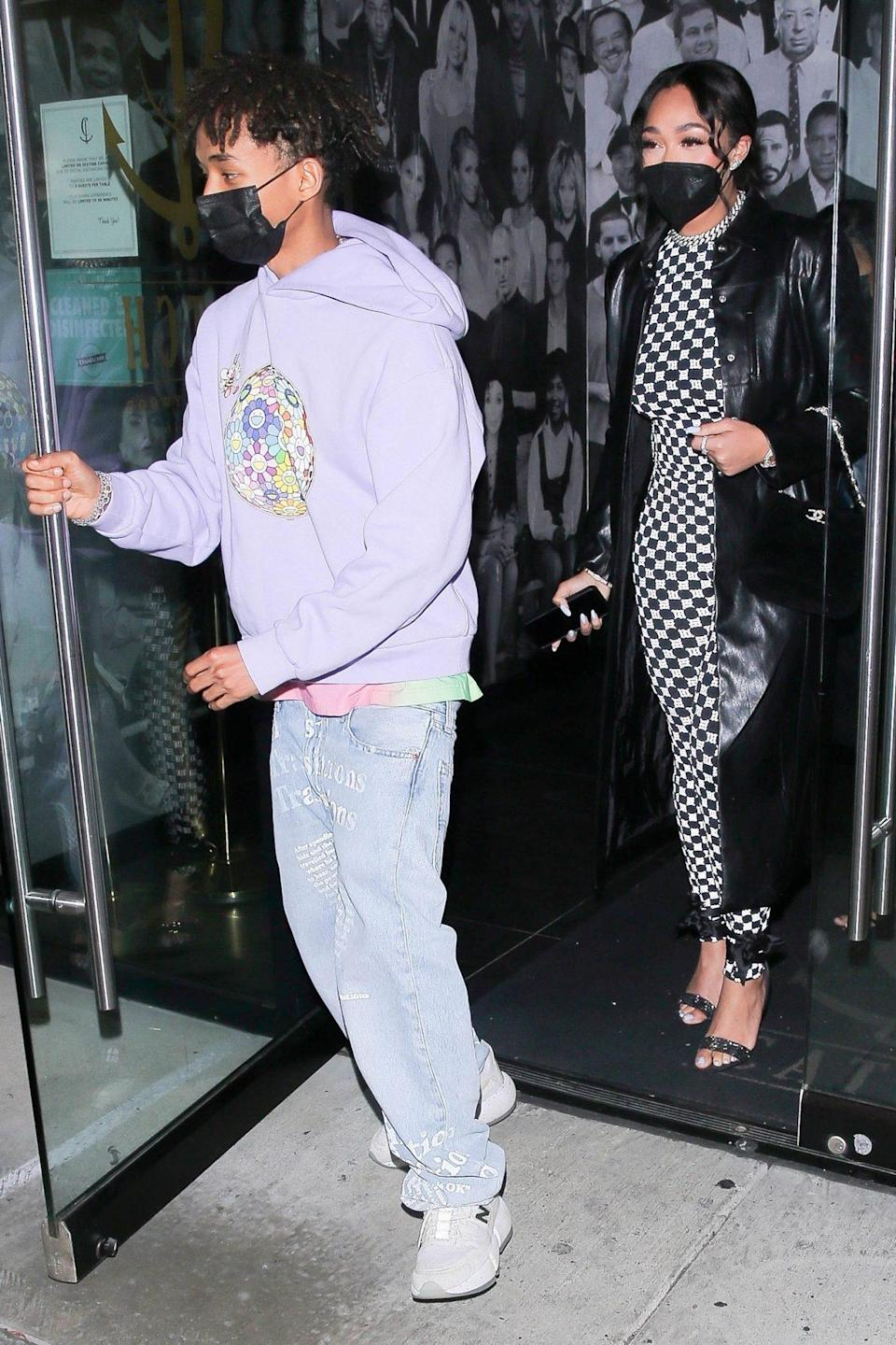 <p>Jaden Smith and Jordyn Woods leave dinner at Catch L.A. in West Hollywood on Thursday night. </p>