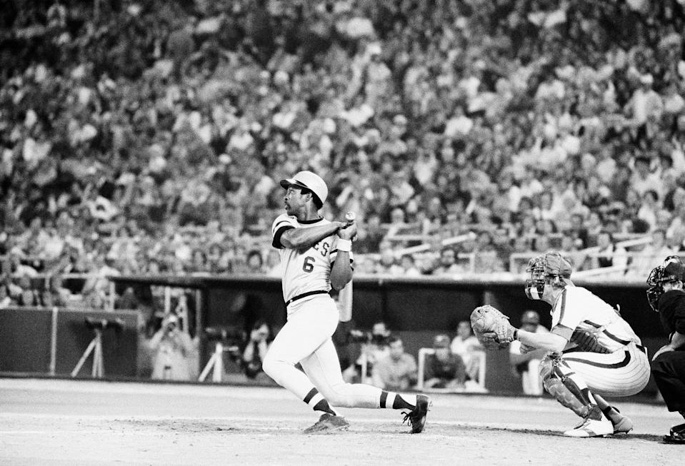 FILE - Pittsburgh Pirates' Rennie Stennett hits one of three singles as the Pirates beat the Philadelphia Phillies 9-1 in Philadelphia, in this Sept. 18, 1975, file photo. Rennie Stennett has died. He was 72. The team, citing information provided by the Stennett family, said Stennett passed away early Tuesday morning, May 18, 2021, following a bout with cancer. (AP Photo/Rusty Kennedy, File)