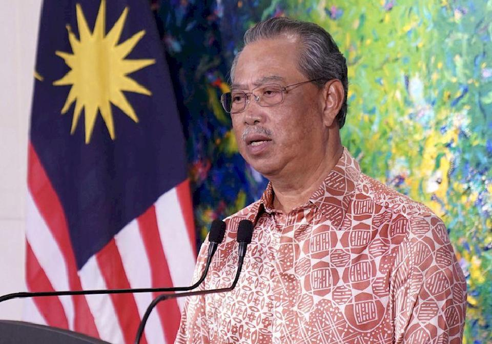 Prime Minister Tan Sri Muhyiddin Yassin delivering a live national TV address in conjunction with New Year 2021, December 31, 2020. — Bernama pic