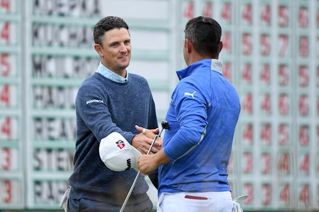 Justin Rose and Gary Woodland will be paired together again on Sunday in the final round of the U.S. Open at Pebble Beach. (Photo by Harry How/Getty Images)