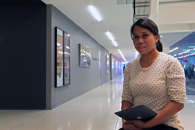 Courtney John, mobile UX designer for the Wall Street Journal, at the newsroom of the Wall Street Journal. (Photo: Siemond Chan)