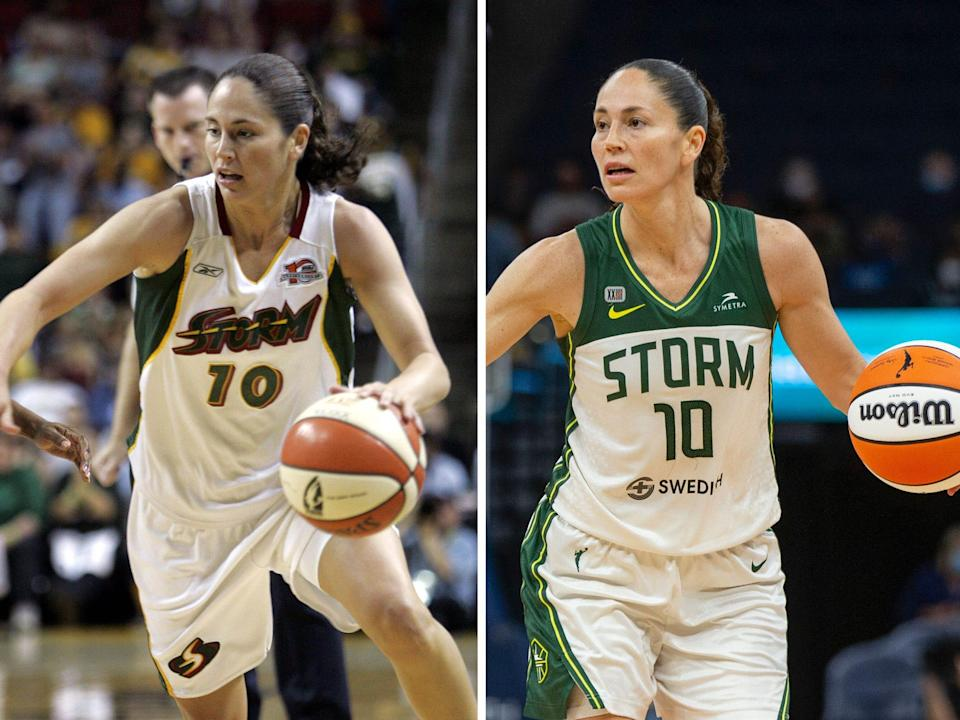 Sue Bird plays for the Seattle Storm in 2006 (left) and 2021 (right).