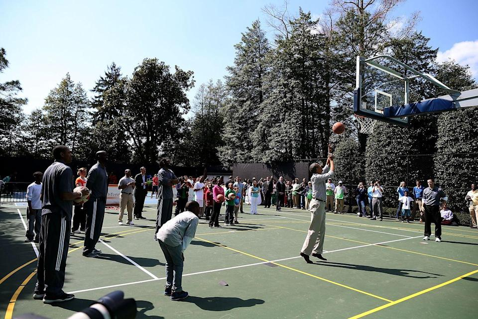 <p>Former President Obama was known to toss a ball around with some NBA players... and some deserving kids during the Easter Egg Roll.</p>