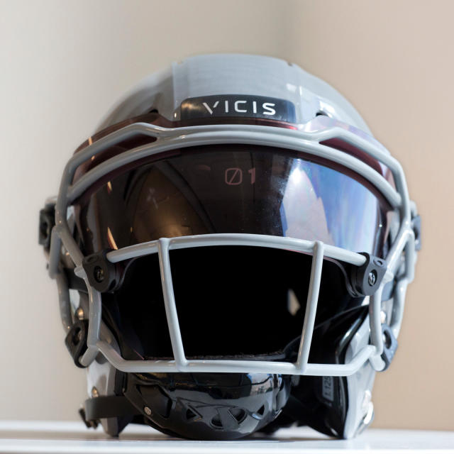 FILE - In this Sept. 11, 2017, file photo, a VICIS Zero1 helmet is displayed in New York. The NFL for the first time is prohibiting certain helmets from being worn by players. In notifying the 32 teams Monday, April 16, 2018, the league has sought to have players stop using 10 helmet varieties. Laboratory testing showed that the VICIS Zero 1 models of 2017 and 2018 rate best for player safety. (AP Photo/Mark Lennihan, File)