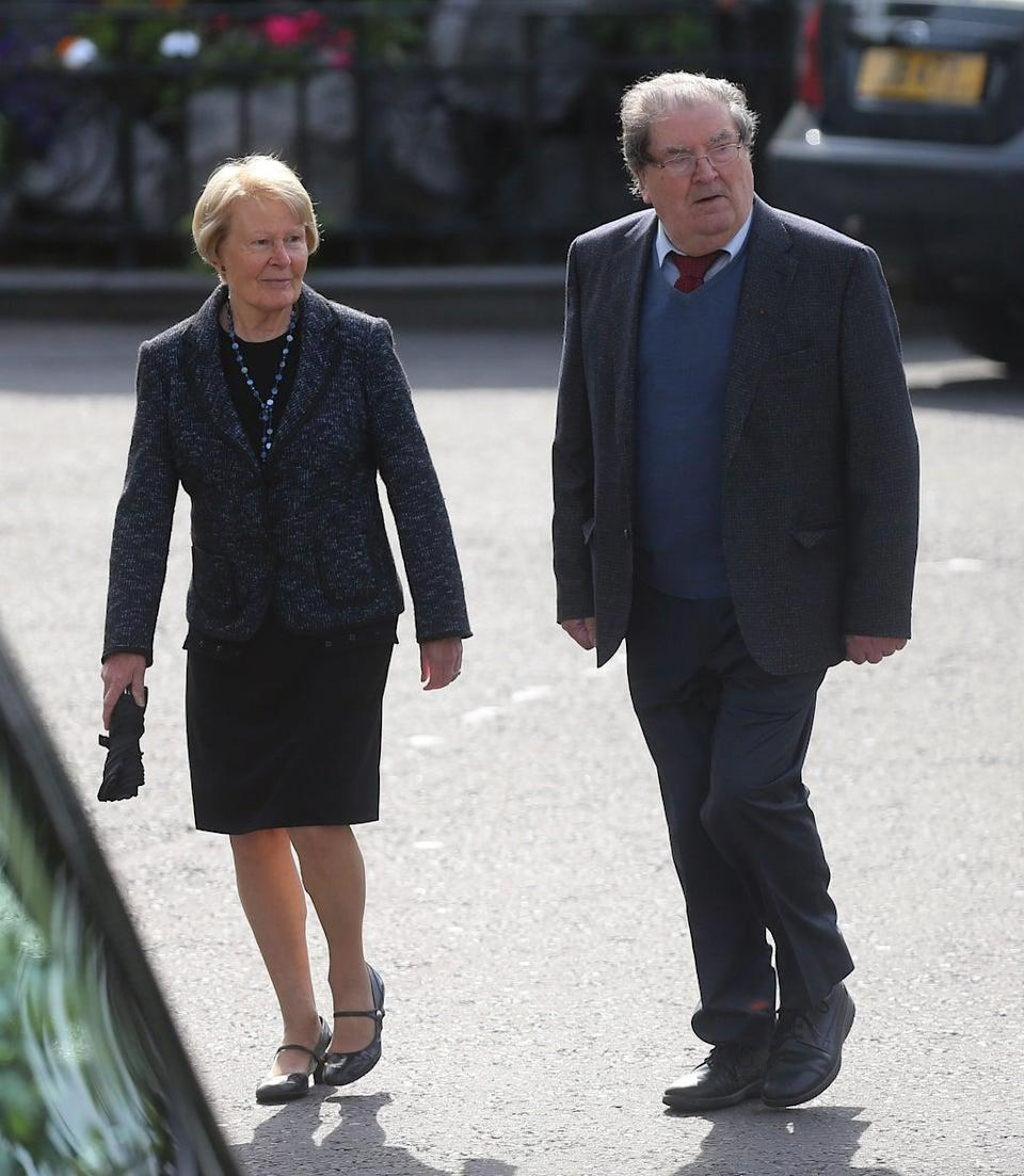 John Hume and his wife Pat arrive for the funeral of BBC broadcaster Gerry Anderson at St Eugene's Cathedral in Londonderry. (PA Archive)