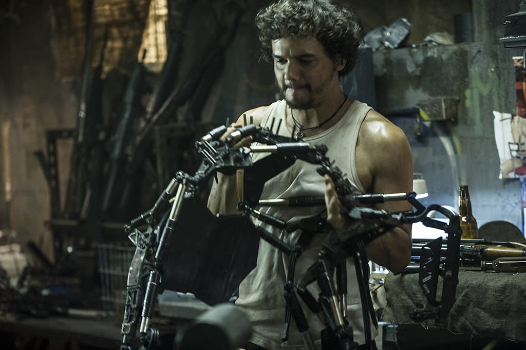 Spider (WAGNER MOURA) inside his armory in Columbia Pictures' ELYSIUM.