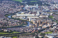 Elevated view of the Centre of Cardiff with Millennium stadium with the River Taff