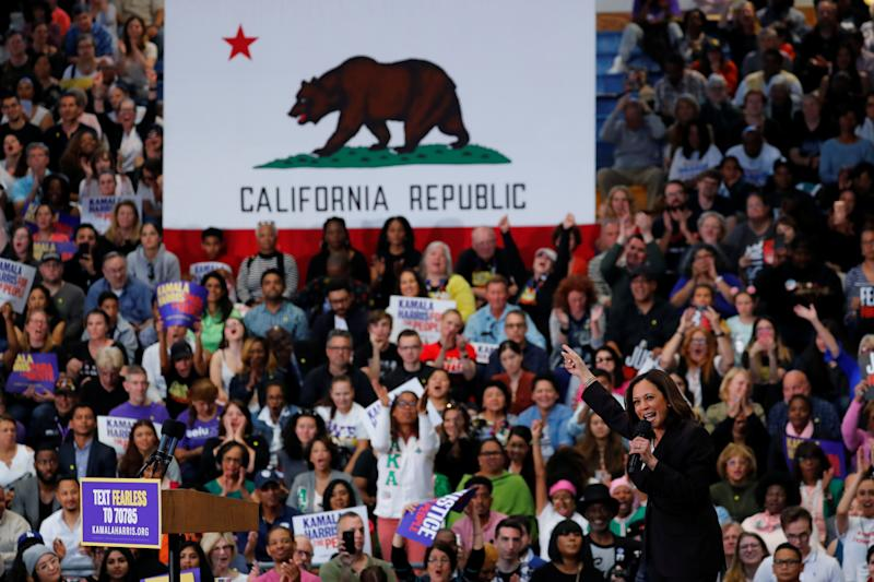Sen. Kamala Harris holds her first organizing event in Los Angeles, on May 19, in her campaign for 2020 Democratic presidential nomination. (Photo: Mike Blake/Reuters)