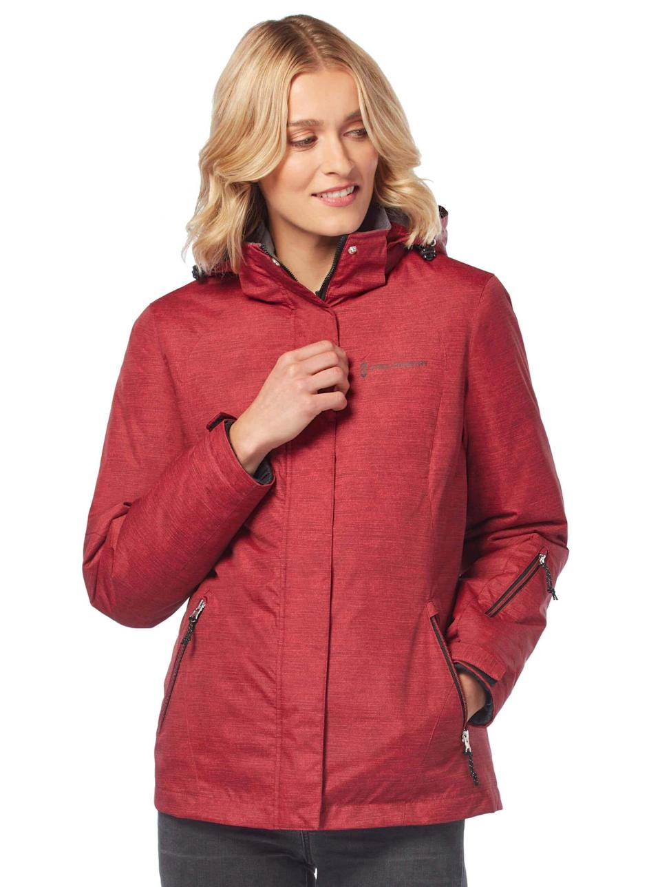 """<p><strong>Free Country</strong></p><p>freecountry.com</p><p><strong>$59.99</strong></p><p><a href=""""https://freecountry.com/products/womens-trailblazing-3-in-1-systems-jacket"""" rel=""""nofollow noopener"""" target=""""_blank"""" data-ylk=""""slk:Shop Now"""" class=""""link rapid-noclick-resp"""">Shop Now</a></p><p>Why buy one jacket when you can get three…in one? Wind- and water-resistant, this comes with an inner and outer layer that you can remove, along with the hood. </p>"""