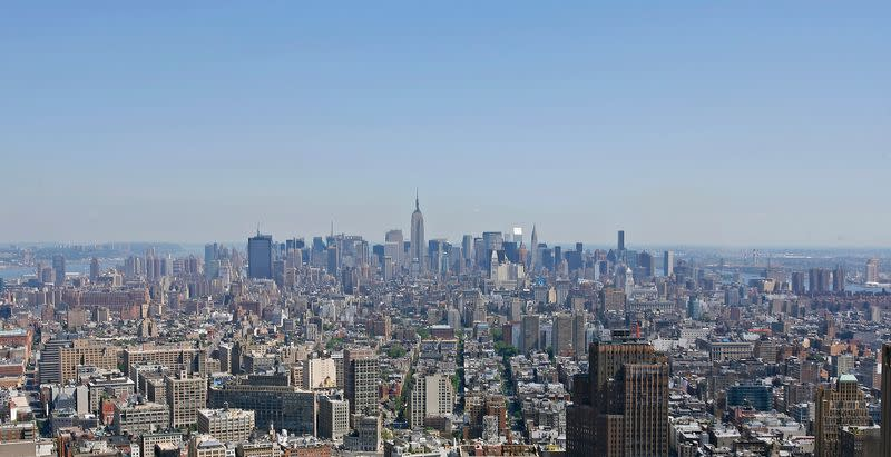 A view of Manhattan Skyline looking north from top of 7 World Trade Center Building in New York City
