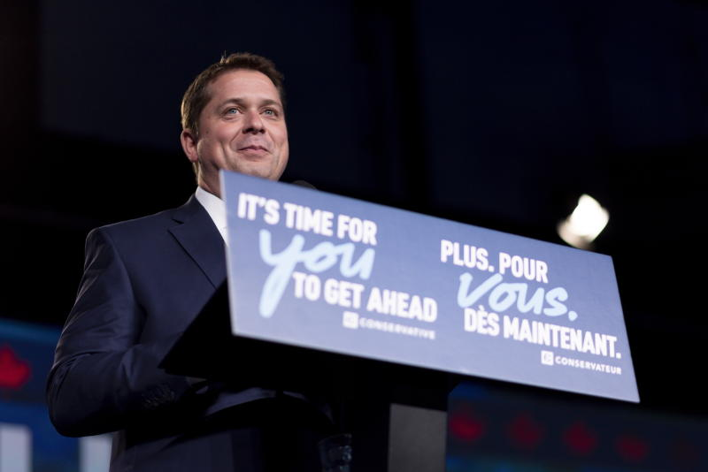 Andrew Scheer speaks to his supporters on the stage at Conservative Party HQ on Election Day in Regina on Monday Oct. 21, 2019. (Michael Bell/The Canadian Press via AP)
