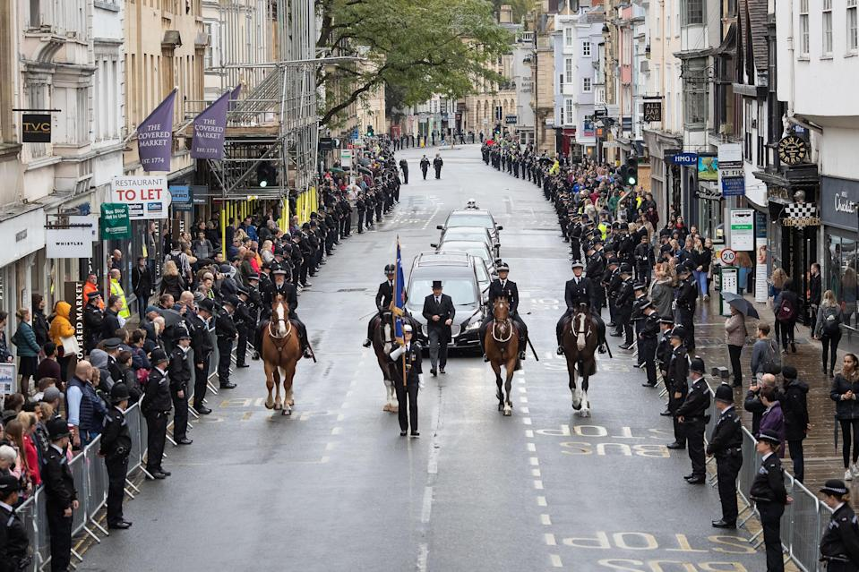 The funeral cortege for PC Andrew Harper in Oxford. (PA Images)