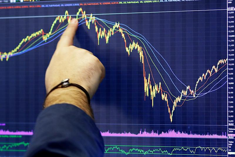 A trader follows a chart, Monday, Nov. 19, 2018, at the New York Stock Exchange. Big technology and internet companies came under heavy selling pressure again on Monday, leading to broad losses across the stock market. The Dow Jones Industrial Average briefly fell 500 points. (AP Photo/Mark Lennihan)