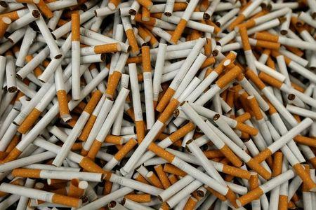 FILE PHOTO: Lucky Strike cigarettes seen during manufacturing process in BAT cigarette factory