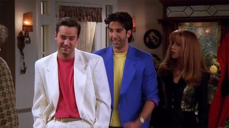 From left: Matthew Perry, David Schwimmer and Jennifer Aniston in a flashback