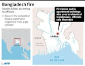 Map of Bangladesh showing the capital where a fire has killed dozens according to officials on Thursday