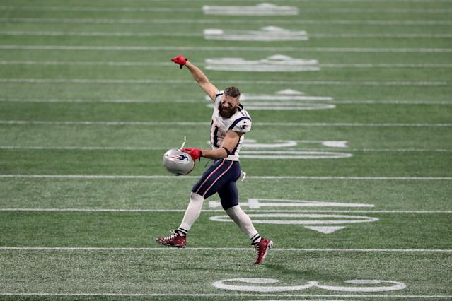 <p>Julian Edelman #11 of the New England Patriots celebrates after defeating the Los Angeles Rams in Super Bowl LIII at Mercedes-Benz Stadium on February 03, 2019 in Atlanta, Georgia. (Photo by Streeter Lecka/Getty Images) </p>