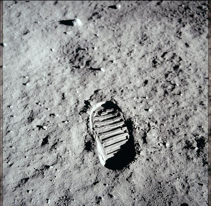 The footprint of a Apollo 11 astronaut's moon boot is left on the surface of the moon. Credit NASA