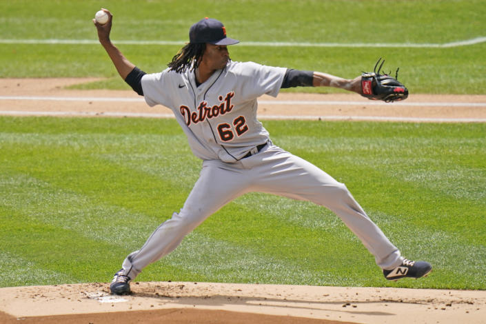Detroit Tigers starting pitcher Jose Urena throws during the first inning of a baseball game against the New York Yankees at Yankee Stadium, Sunday, May 2, 2021, in New York. (AP Photo/Seth Wenig)