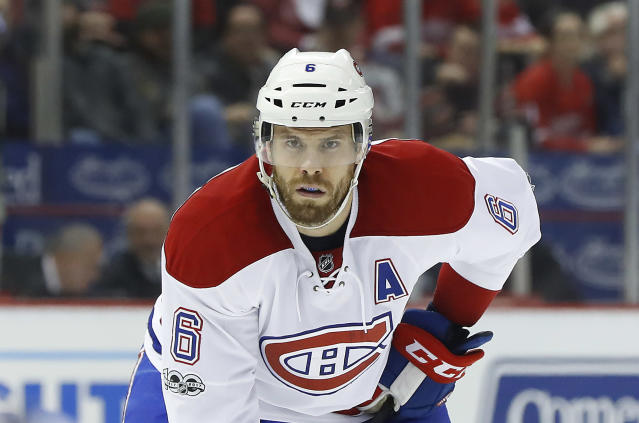 """<a class=""""link rapid-noclick-resp"""" href=""""/nhl/players/3387/"""" data-ylk=""""slk:Shea Weber"""">Shea Weber</a> is back, and he's looking like his old reliable self. (AP Photo/Paul Sancya)"""