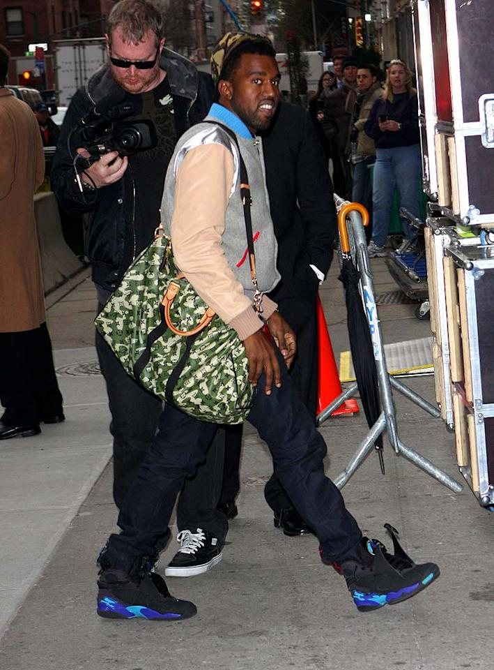 Kanye West visits the David Letterman Show in NYC. Pictured: Kanye West Ref: SPL63651 241108 Picture by: Richie Buxo / Splash News Splash News and Pictures Los Angeles: 310-821-2666 New York: 212-619-2666 London: 870-934-2666 photodesk@splashnews.com