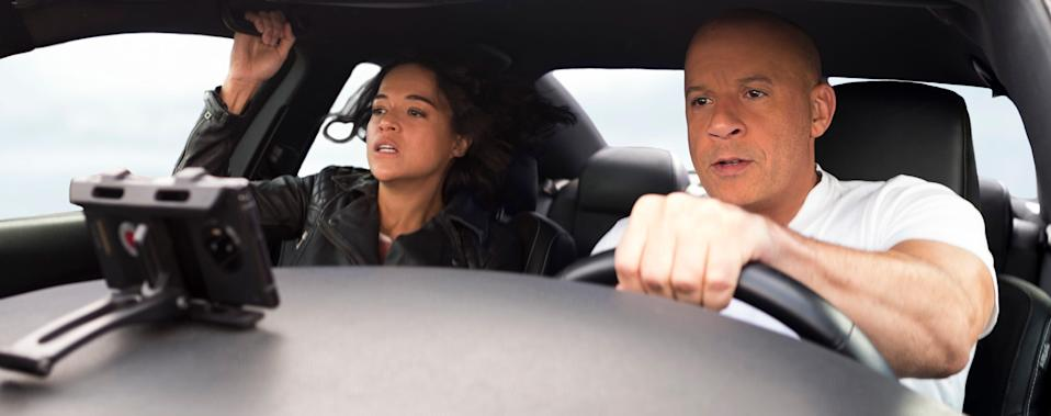 """Michelle Rodriguez and Vin Diesel return for """"F9,"""" the ninth installment in the """"Fast and Furious"""" saga."""