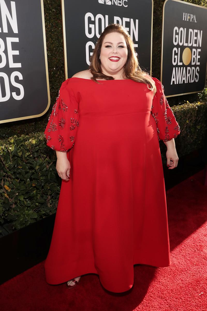 Metz on the Golden Globes red carpet.