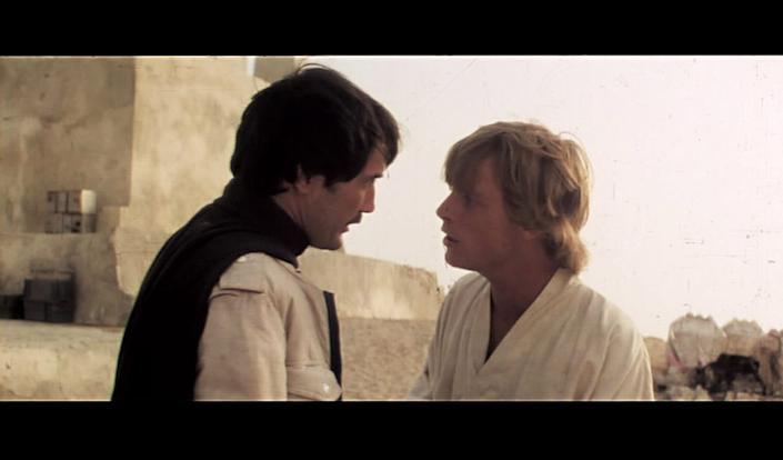 Garrick Hagon as Biggs Darklighter and Mark Hamill as Luke Skywalker in a deleted scene from 'Star Wars: A New Hope' (Photo: Lucasfilm)