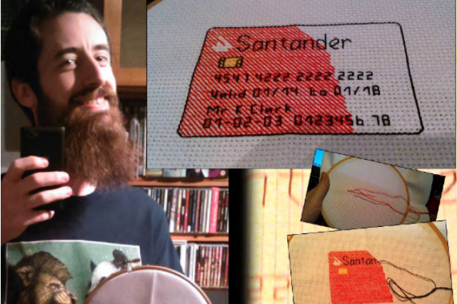 Santander card in cross-stitch